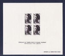 gravure épreuve bloc de 4 marianne type liberté 1f90  en  noir