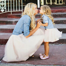 Mother-daughter Denim T-shirt Tops Tutu Skirt Outfit Women Baby Girl Clothes Set Mommy M/4t
