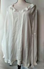 FREE PEOPLE Women's LS Ivory Boho Semi-Sheer Tunic Top With Ruffle Neckline Sz L