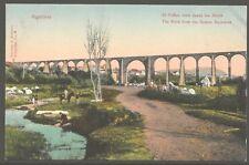 El Peñón visto desde los Arcos Algeciras 1910 Hand Colored Lithography PC UNUSED