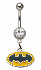 DC Comics Batman Press Fit Logo Gem Dangle 14 Gauge Belly Button Ring