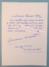 L.A.S 1975 Germaine ACREMANT Romancière à Laurent Lopez née à Saint Omer lettre