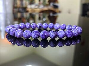 100% Natural Russian CHAROITE AA+ Bead Bracelet for Men No DYES! - (Stretch) 8mm