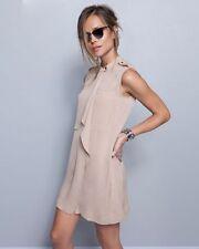 A.L.C NATALIA 100% SILK BAND COLLAR SLEEVELESS TUNIC SHIRT DRESS SLIP NUDE NWT 2