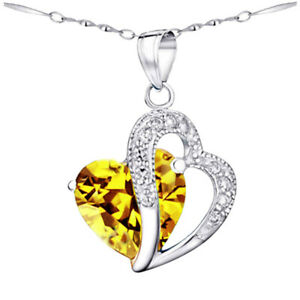 Sterling Silver Double Heart Simulated Citrine Pendant Necklace Christmas Gifts