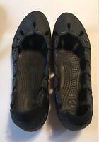 Crocs Women's Black Flat Style Slip-on Casual Beach Size 9 Shoes