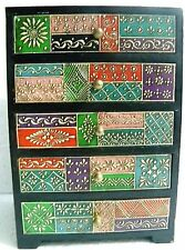 Wooden Drawers Box Embossed Painting 5 drawers Handcrafted Indian Art