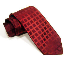Men's KENNETH COLE Reaction Skinny Silk Two Tone Red Checks Slim Necktie Tie