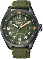 Citizen Eco Drive AW5005-21Y Steel Green Nylon