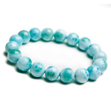 Natural Rare Blue Larimar Gemstone Water Pattern Beads Bracelet 11mm AAAA