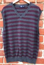 Lincs Mens Sz XL Extra Large V Neck Sweater Vest Cotton/Cashmere Burgundy/Gray