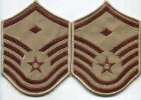 US Air Force Sgt W/Device Combat Patch Stripes Desert Tan DCU Pair