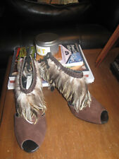 12b9e018c85 OLIVIA ROSE TAL Peep Toe Booties Shoes-Brown Leather-Feather Trim-SZ 6