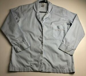 Cotn Women Long Sleeve Button Up Pajama Shirt Sz P Blue White Stripe Pima Cotton