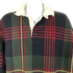 Polo Ralph Lauren Rugby Shirt XL Green Tartan Plaid Heavy Cotton Knit Vtg 80s
