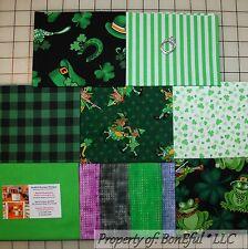 BonEful Fabric COTTON QUILT LOT Green Frog St Patricks Day Irish Shamrock Clover