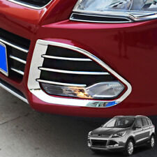 Chrome Front Fog Light Lamp Cover Trim Molding For Ford Escape Kuga 2013-2016