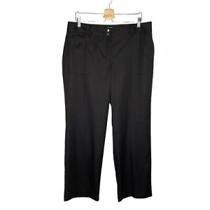 IZOD XFG Golf Stretch Solid Black Full Length Pants Size 14 Mid Rise Satin Like