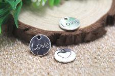 20pcs- love heart disc Charms Antique silver love heart disc pendants 14mm