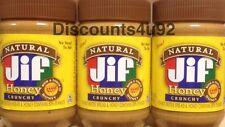 3 Jars Jif Natural Honey Crunchy Peanut Butter, 16 oz each, FRESH