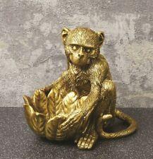 GOLD  MONKEY TEA LIGHT CANDLE HOLDER ORNAMENT