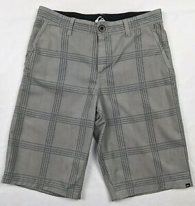 """Quiksilver Youth Gray Plaid Hybrid Board Shorts, Size 14 , Waist 28"""""""