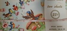 "Blue Birds Mushrooms Vtg Munson Wrapping Paper 2 sheets 24x36"" Unused"