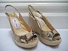 JIMMY CHOO snake print leather espadrille wedge sandals heels Italian size 37