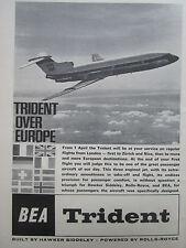 4/1964 PUB BEA AIRLINE HAWKER SIDDELEY TRIDENT AIRLINER / PIAGGIO PORTOFINO AD