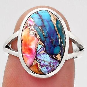 Kingman Orange Dahlia Turquoise 925 Sterling Silver Ring s.7 Jewelry 7878
