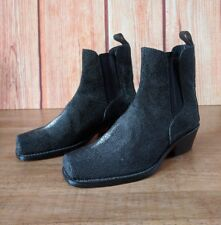 Bangkok Bootery Approx 6.5 Stingray Leather Short Boots Booties Black Square Toe
