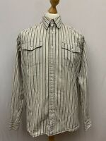 Mens | Wrangler Western Button Down Long Sleeve Striped Shirt | White | Size M