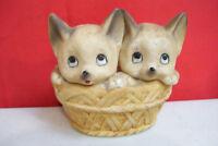 "ROYAL CROWN Two CAT kitten In Bucket FIGURINE 3.5"" Tall"