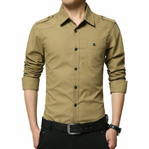 Mens Military Long Sleeves Cotton Shirts Slim Fit Multicolor Casual Shirts Tops