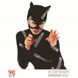 Black Fabric Cat Mask With Ears Cat Woman Bat Girl Feline Halloween Fancy Dress
