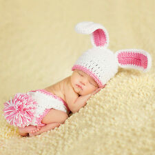 Newborn Baby Crochet canvas hat Costume Photo Photography Prop Easter Bunny