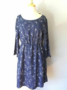 NWT Tulle Blue Print Pleated 3/4 Sleeve Elastic Waist Cocktail Dress Women XL