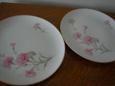 """Lot of Two Royal Court Fine China Pink Carnation 10"""" Dinner Plates-Japan EUC"""