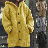 Womens Chunky Cable Knit Cardigan Loose Long Sleeve Outwear Coat Jacket Lady HO