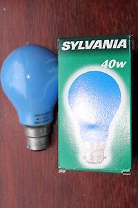 10 x Sylvania 09332 BLUE GLS Bayonet Cap BC B22 Incandescent Light Bulbs 40w