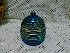 Vintage Blue Carnival Glass Honey Holder - Bee Hive - B909-1