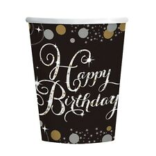 8 Gold Black Sparkle Celebration Happy Birthday Party 266ml Paper Cups
