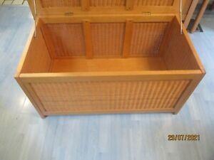 Wäschetruhe Aufbewahrungsbox  Holz mit Korbgeflecht