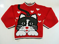 Vtg MERREMONT KNITWEAR Sweater Girls Sz 2T Red Black Cat Kitty Pullover USA EUC