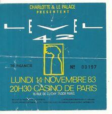 RARE / TICKET BILLET DE CONCERT - LEVEL 42 : LIVE A PARIS ( FRANCE ) 1983