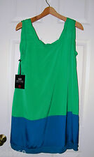 THAKOON Target Collaboration COLOR BLOCK  SHIFT Mini Dress  TURQUOISE Sz L