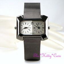 DESIGNER Elegant Black Chainmail Mesh Dual 2 Time Twin Multi Zone Unisex Watch