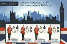 Mongolia 2011 MNH Royal Wedding Prince William & Kate 4v M/S Royalty Stamps