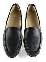 SAS Womens Size 9.5 Tripad Comfort Shoes Black Leather Moc Flats Slip On Loafers