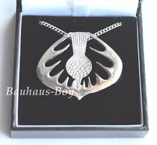 PEWTER PENDANT SCOTTISH THISTLE DESIGN SOLID PEWTER MADE IN SCOTLAND ON CHAIN
